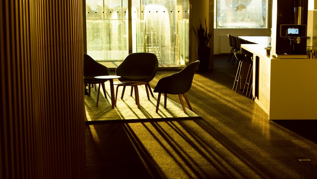 Emty coffee area in sunlight picture