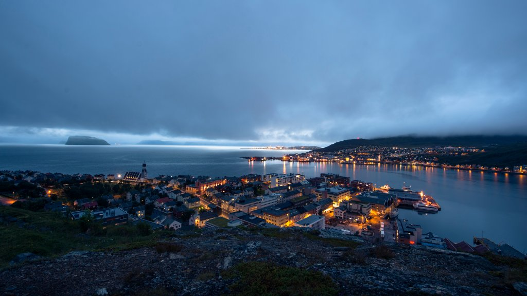 Hammerfest city by night