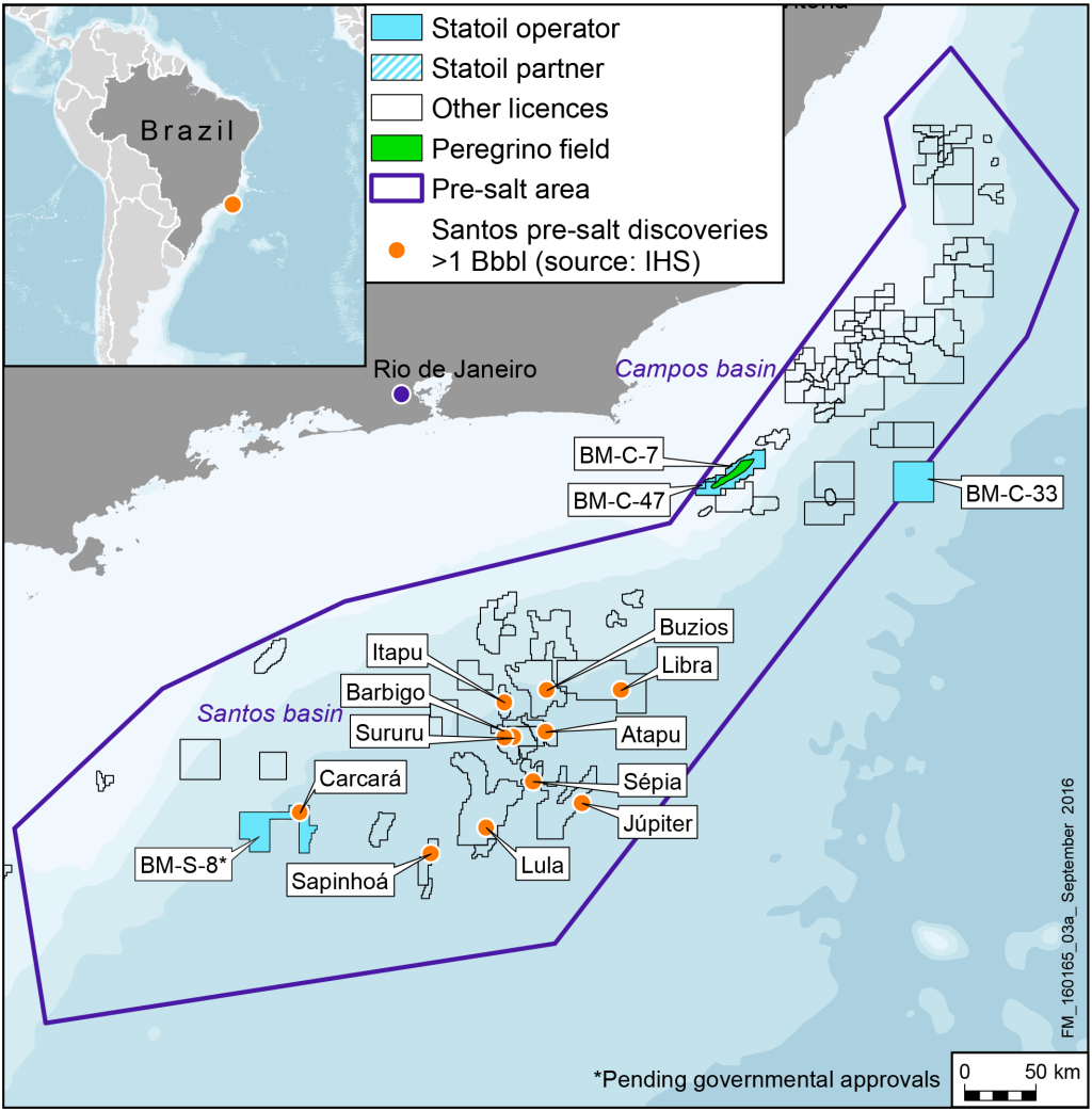 Map of Statoil assets in Brazil