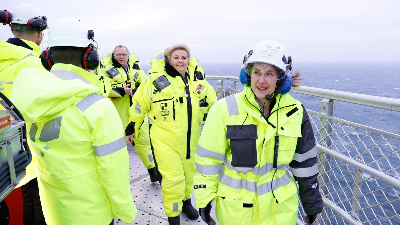 Norway's prime minister Erna Solberg on the Johan Sverdrup helideck