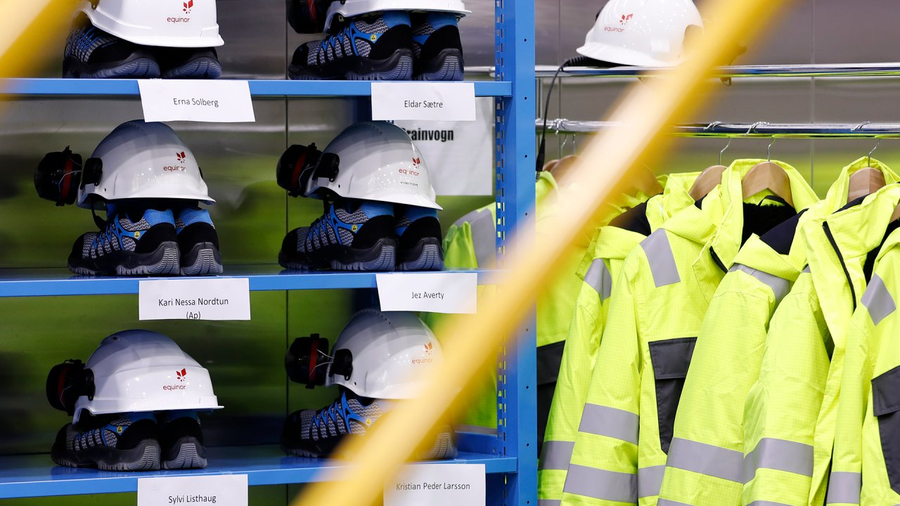 Photo of helmets at the Johan Sverdrup field