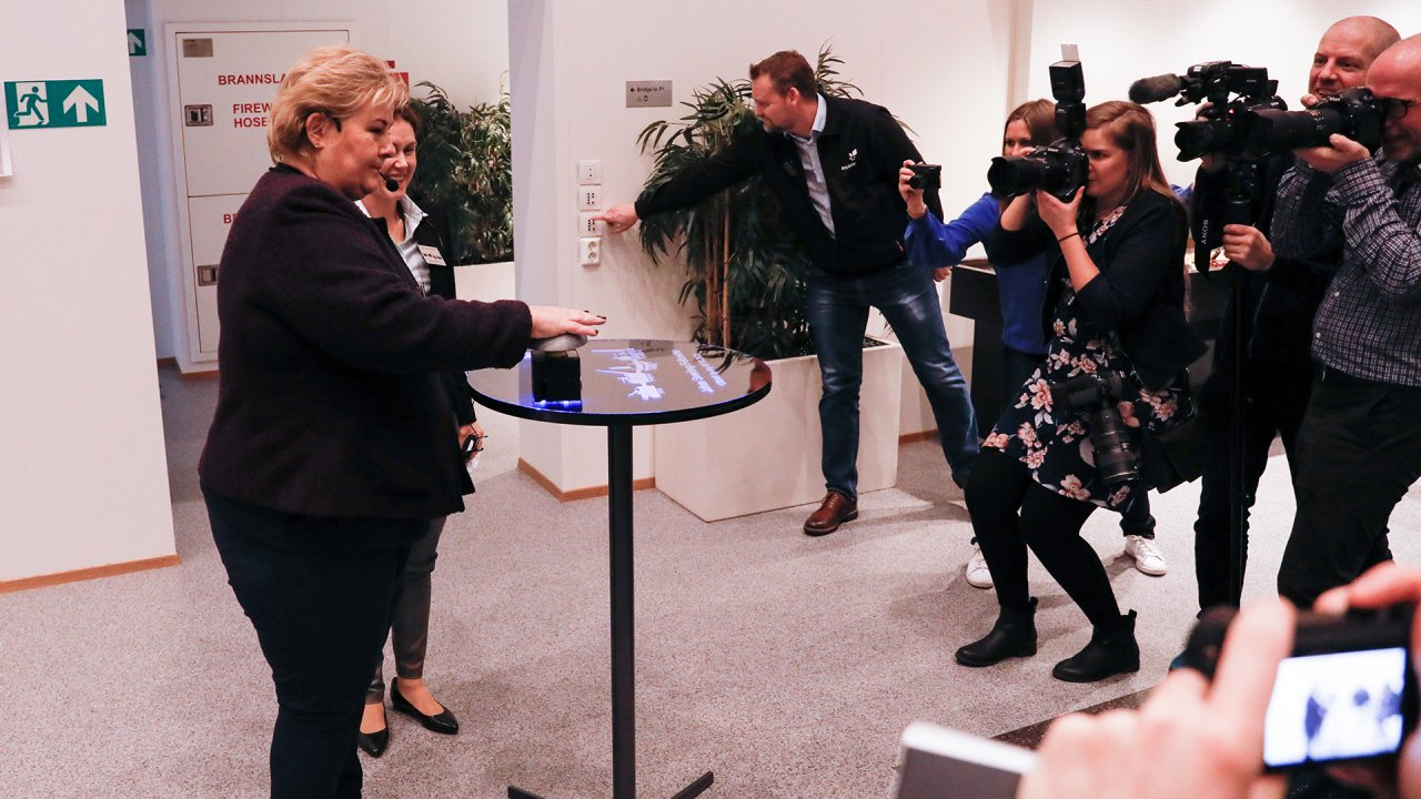 Norway's prime minister Erna Solberg at the Johan Sverdrup field centre
