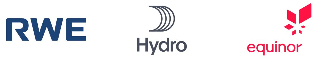 Logos for RWE, Hydro and Equinor