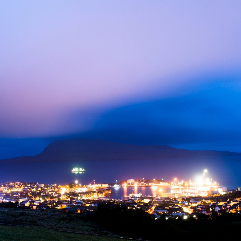 Photo of Torshavn, Faroe Islands by night